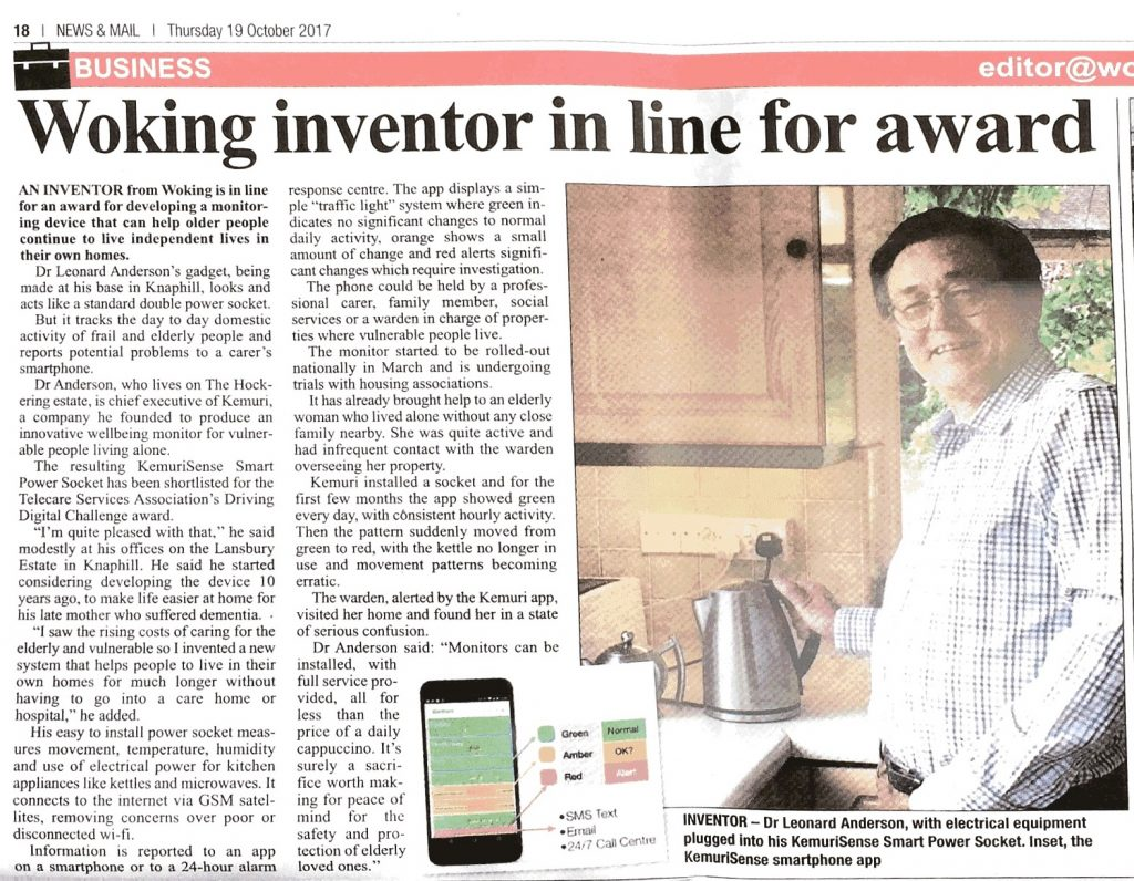 Leonard Anderson, Woking News & Mail, inventor, newspaper article, Kemuri
